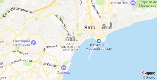 Территория Южный портал на карте Ялты с номерами домов