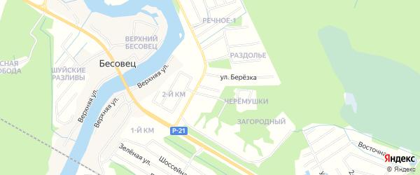 Местность Жилой массив Ясная поляна на карте деревни Бесовец Карелии с номерами домов