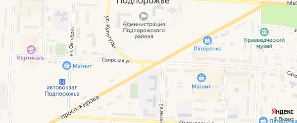 Свирская улица на карте Подпорожья с номерами домов