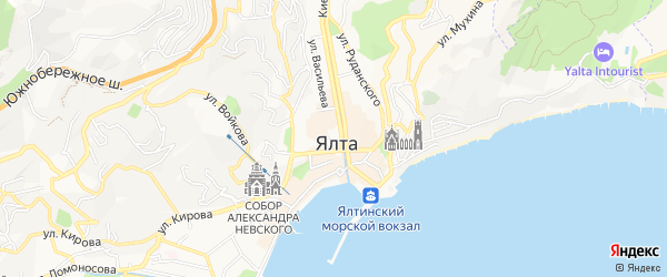 Карта поселка Отрадного города Ялты в Крыму с улицами и номерами домов