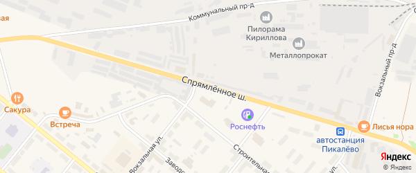 Спрямленное шоссе на карте Пикалево с номерами домов