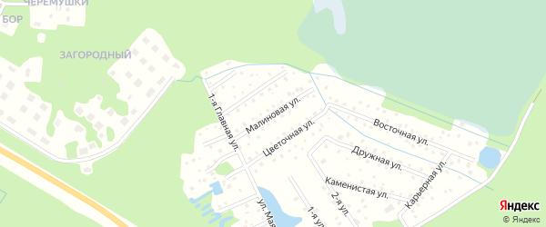 Малиновая улица на карте территории СНТ Солнечного Карелии с номерами домов