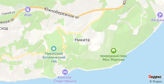 Карта поселка Никита в Ялте с улицами, домами и почтовыми отделениями со спутника онлайн