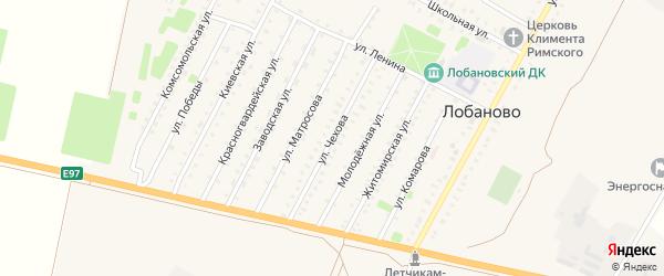 Улица Чехова на карте села Лобаново Крыма с номерами домов