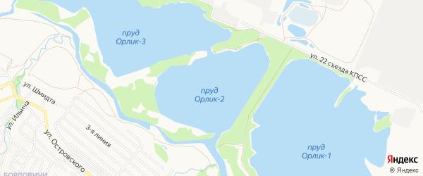 Территория ГО Орлик-2 на карте Брянска с номерами домов