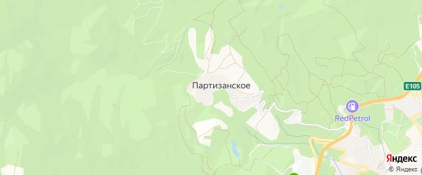 Карта поселка Партизанского города Ялты в Крыму с улицами и номерами домов