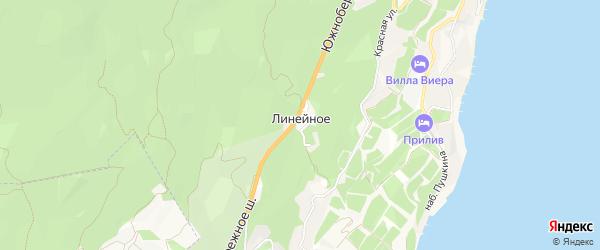 Карта поселка Линейного города Ялты в Крыму с улицами и номерами домов