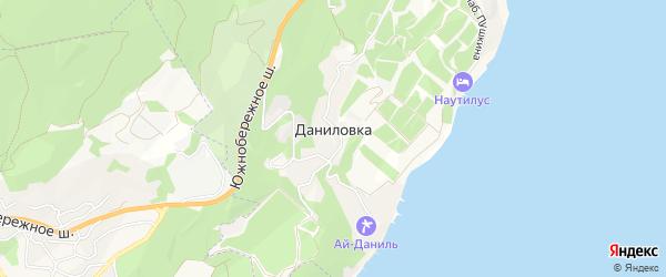 Карта поселка Даниловки города Ялты в Крыму с улицами и номерами домов