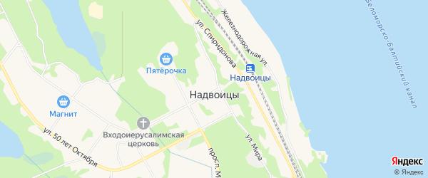 Карта поселка Надвоицы в Карелии с улицами и номерами домов