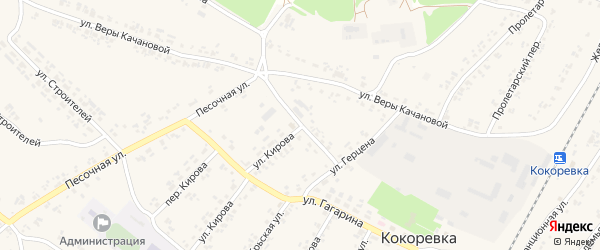 Переулок Герцена на карте поселка Кокоревки с номерами домов