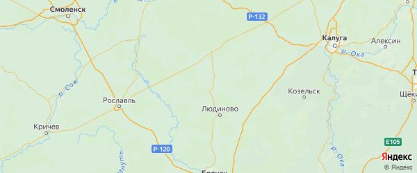 Карта Кировский района Калужской области с городами и населенными пунктами