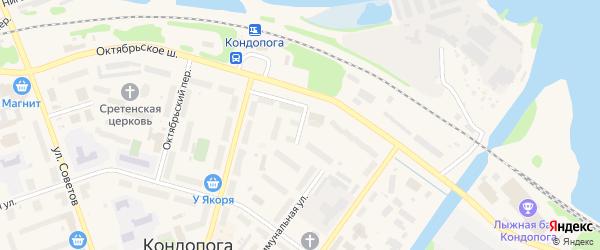 Коммунальный переулок на карте Кондопоги с номерами домов