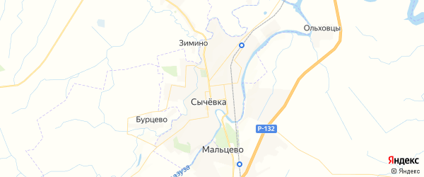Карта Сычевки с районами, улицами и номерами домов