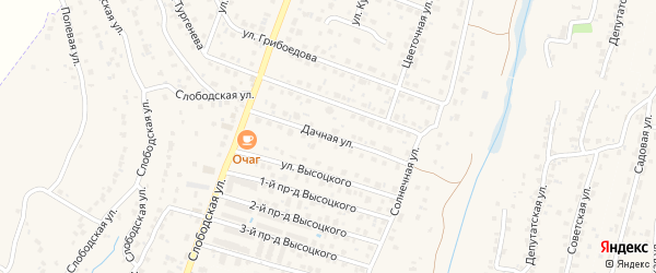 Дачная улица на карте поселка Кузьмино с номерами домов