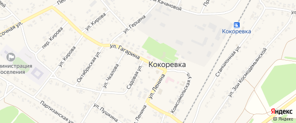 Улица Гагарина на карте поселка Кокоревки с номерами домов
