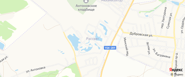 Территория СО Рассвет на карте Брянска с номерами домов