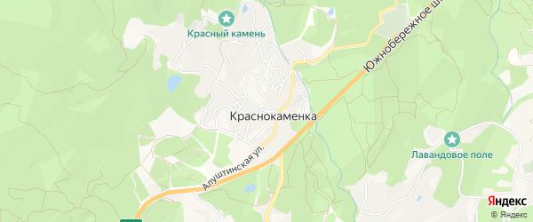 Карта поселка Краснокаменки города Ялты в Крыму с улицами и номерами домов
