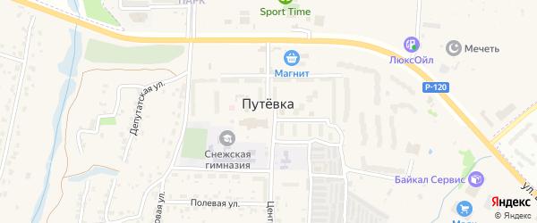 Придорожная улица на карте поселка Путевки Брянской области с номерами домов