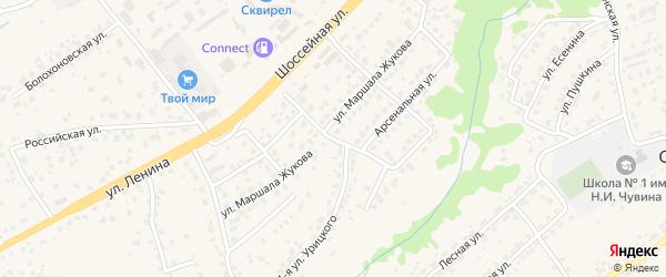 2-й Арсенальный переулок на карте села Супонево Брянской области с номерами домов