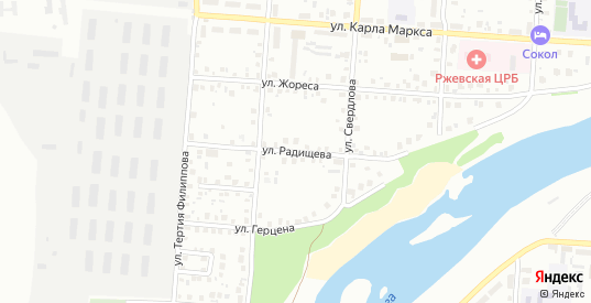 Улица Радищева в Ржеве с номерами домов на карте. Спутник и схема онлайн