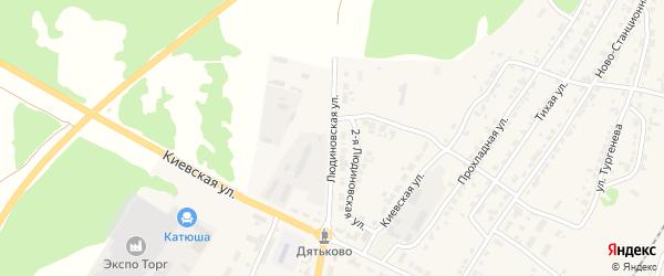Людиновская улица на карте Дятьково с номерами домов