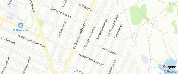 Жиздринская улица на карте Брянска с номерами домов