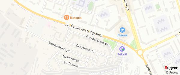 Рославльская улица на карте поселка Путевки с номерами домов