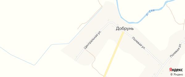Центральная улица на карте села Добруни с номерами домов