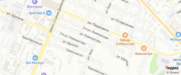 Улица Ломоносова на карте Брянска с номерами домов
