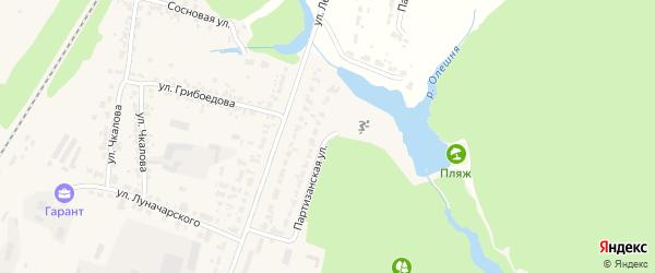 Партизанская улица на карте Дятьково с номерами домов