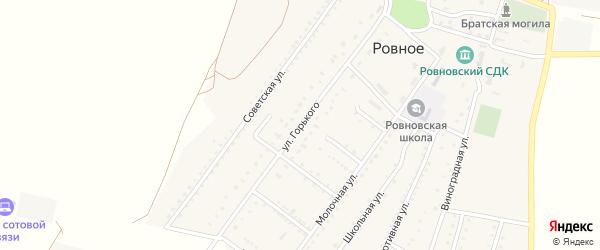 Улица Горького на карте Ровного села Крыма с номерами домов