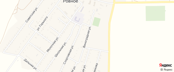 Виноградная улица на карте Ровного села Крыма с номерами домов
