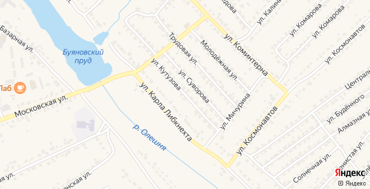 Улица Кутузова в Дятьково с номерами домов на карте. Спутник и схема онлайн