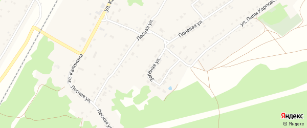 Зеленая улица на карте поселка Алтухово Брянской области с номерами домов