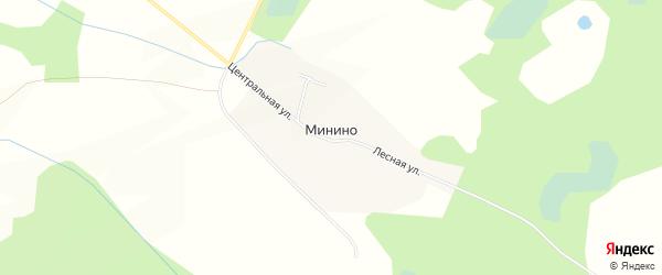 Карта деревни Минино в Смоленской области с улицами и номерами домов