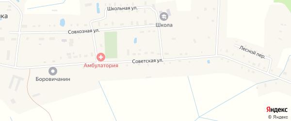 Советская улица на карте деревни Починной Сопки Новгородской области с номерами домов