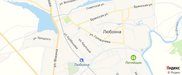 Карта поселка Любохны в Брянской области с улицами и номерами домов