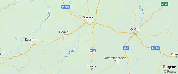 Карта Навлинского района Брянской области с городами и населенными пунктами