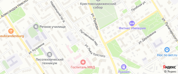 Пуговичный переулок на карте района Зарека с номерами домов