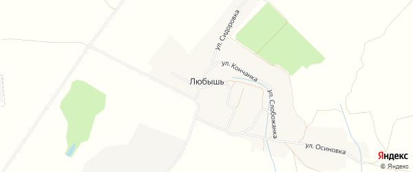 Карта села Любышь в Брянской области с улицами и номерами домов