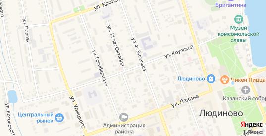 Улица Крупской в Людиново с номерами домов на карте. Спутник и схема онлайн