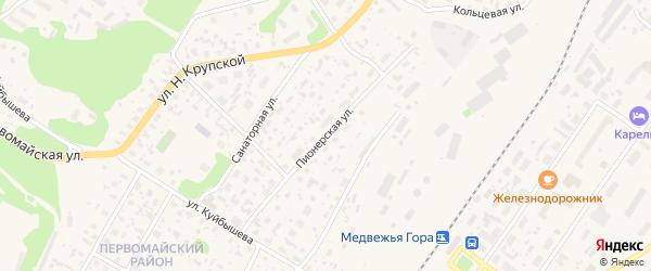 Пионерская улица на карте Медвежьегорска с номерами домов