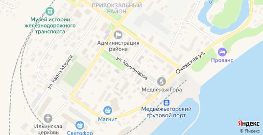 Улица Коммунаров в Медвежьегорске с номерами домов на карте. Спутник и схема онлайн