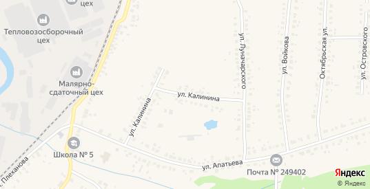 Улица Калинина в Людиново с номерами домов на карте. Спутник и схема онлайн