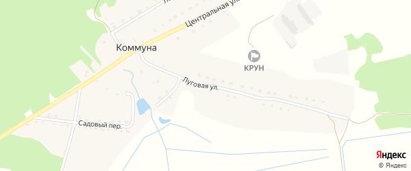 Луговая улица на карте поселка Коммуны с номерами домов