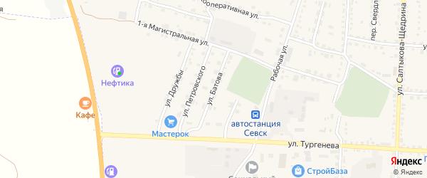 Улица Батова на карте Севска с номерами домов