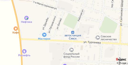 Переулок Батова в Севске с номерами домов на карте. Спутник и схема онлайн