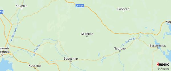 Карта Хвойнинского района Новгородской области с городами и населенными пунктами