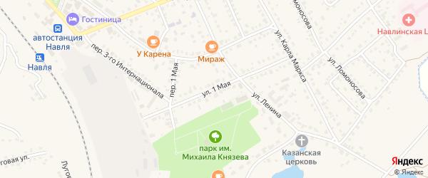 1 Мая улица на карте поселка Навли с номерами домов