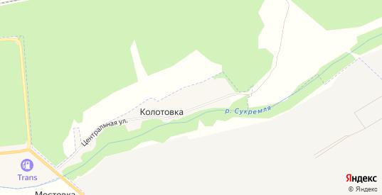 Карта деревни Колотовка в Людиново с улицами, домами и почтовыми отделениями со спутника онлайн